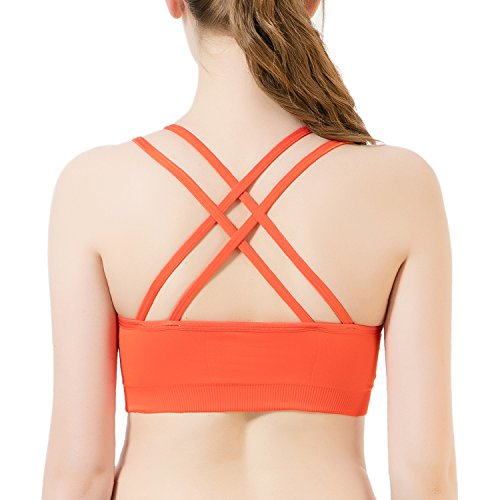 CelerSport Women's Sports Bra Cross Back Medium Impact Wirefree Yoga Bras