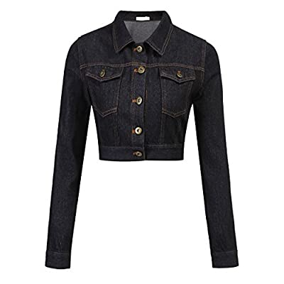 Grabsa Women's Button Down Long Sleeve Cropped Denim Jean Jacket with Pockets at Women's Coats Shop