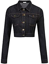 Women's Button Down Long Sleeve Cropped Denim Jean Jacket with Pockets
