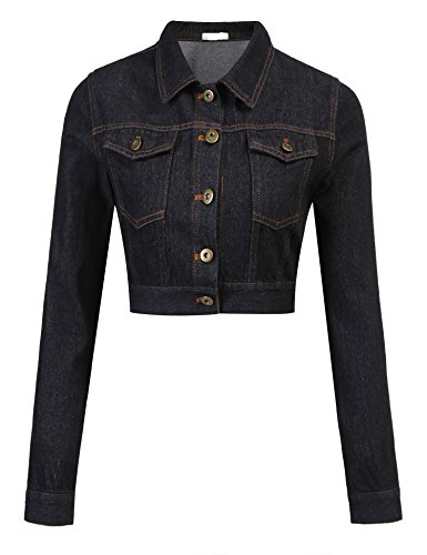 Leather Womens Bolero Jacket - Grabsa Women?s Button Down Long Sleeve Cropped Denim Jean Jacket with Pockets Black, Small