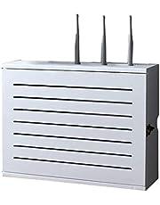 Vit trådlös router, förvaringshylla, väggmonterad Wifi router, förvaringslåda, uttag, skärmtråd, efterbehandling, trådlåda, flytande hylla
