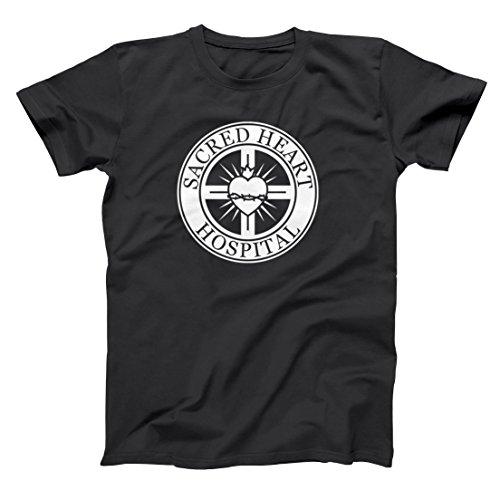 - Sacred Heart Hospital Emblem Funny Retro Help Doctors Nurses Scrubs Cool Show Mens Shirt Large Black
