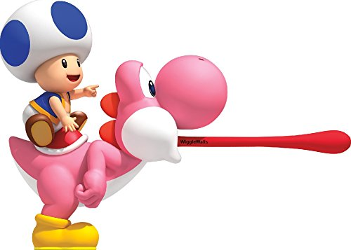 9 Inch Blue Toad on Pink Yoshi Super Mario Bros Wii Brothers Removable Wall Decal Sticker Art Nintendo Home Kids Room Decor Decoration - 9 by 6 inches -