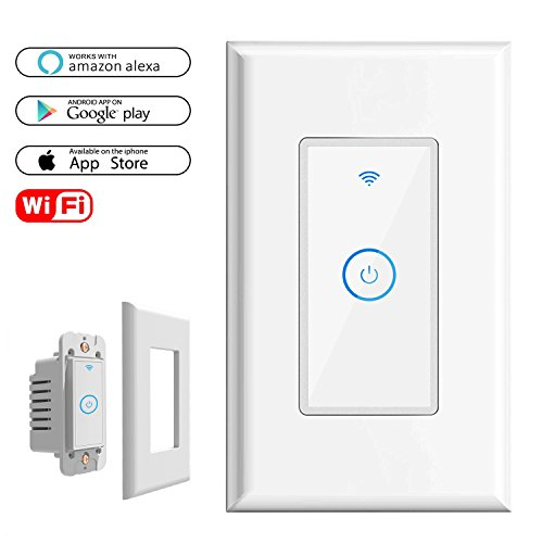 WIFI Smart Light Switch In-Wall, Wireless lighting On/Off No Hub Required, Timing Function Control your Fixtures Anywhere, Voice Control with Alexa, wall plate included 15A, 1 Pack
