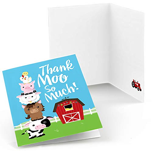 - Big Dot of Happiness Farm Animals - Baby Shower or Birthday Party Thank You Cards (8 Count)