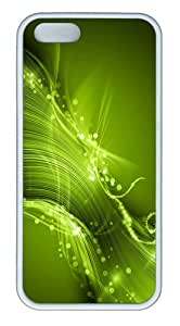 case free green lines sparkles background TPU White Case for iphone 5/5S