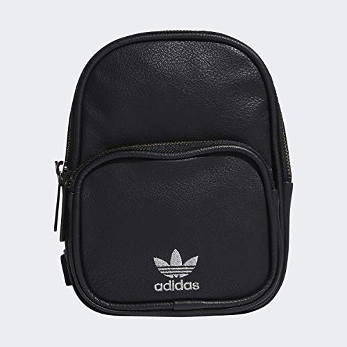 adidas Originals Women's Mini PU Leather Backpack, Black/Silver, ONE SIZE