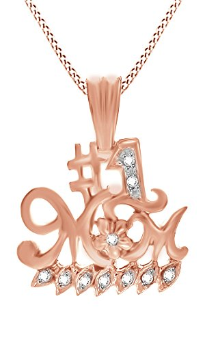 Natural Diamond Accent Mom Number One Pendant Necklace in 14k Rose Gold Over Sterling (Number 1 Mom Pendant)