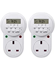 HBN Weekly Programmable Electronic Plug-in Digital Timer with LCD Display 24 Hours / 7 Day, 2 Pack