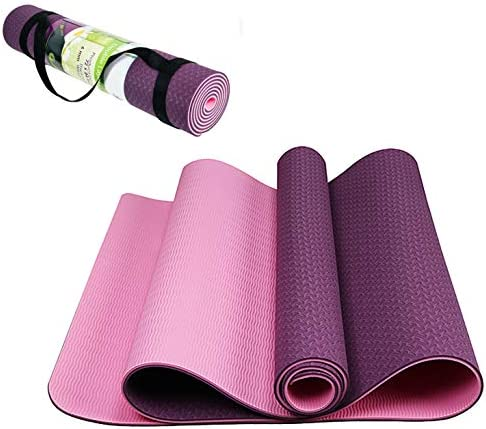 "TPE Yoga Mat 6mm Thick with Double Sided Non Slip Surface Grip and Yoga Mat Strap (72"" x 24"")"