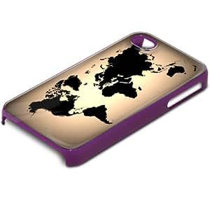 Viaje Mundo, Voyage, Custom Design Morado PC Ultradelgado Caso Duro Carcasa Funda Protección Tapa Hard Case Cover con Diseño Colorido para Apple iPhone 4 4S.