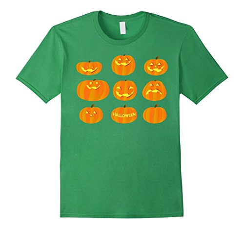 Mens Funny Pumpkin Face Of Halloween Party T-shirt For Kids Women 2XL Grass (Halloween Green Witch Makeup Ideas)