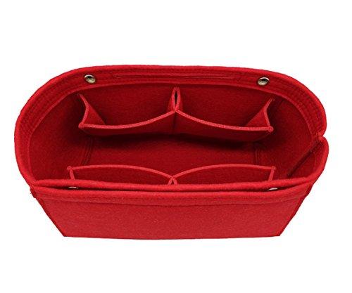 LEXSION Felt Fabric Purse Handbag Organizer Bag - MultiPocket Insert Bag Red L