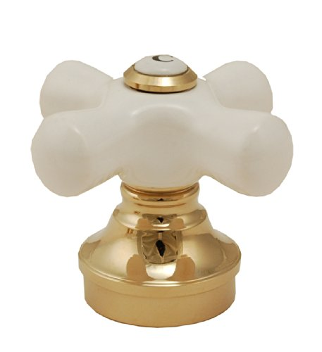 Fit All Faucet Handle Adapter - Quasi - Fit All Faucet Handle, Porcelain Handle with 19 Adapters and 2 Spacers, Polish Brass Finish - By Plumb USA