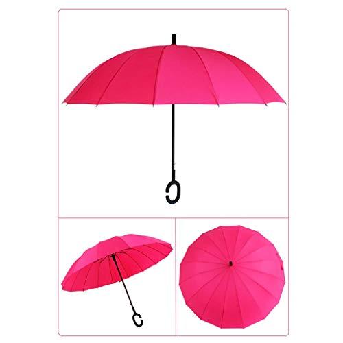 WZJ-UMBRELLAS 16K C-Type Handle Straight Umbrella U-Grade Wind and Rainproof Business Umbrella (Color : Rose)