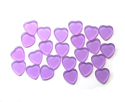 Lilac Frosted Glass Signing Hearts for Your Wedding. Easy to Write On. Great for Table Decorations, Too. Set 0f 24. by Lifeforce Glass