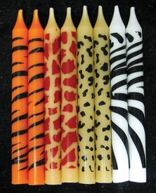 Magnificent 24 Pc Safari Wild Animal Print Birthday Cake Candles Kitchen Funny Birthday Cards Online Overcheapnameinfo