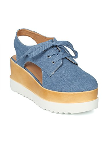Women Cut Out Platform Double Stacked Creeper Slingback Oxford HH70 - Light Blue Denim (Size: ()