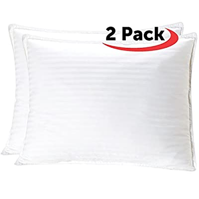 Mellanni Plush Gel-Fiber Filled Pillows - BEST QUALITY 100% Cotton Cases, 3D Hollow Siliconized Material Retains Shape for Cooling Comfort, NO FLATTENING! (2-Pack Standard / Queen Size)