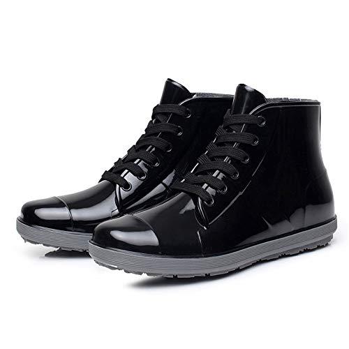 Boot Hunter Stivali da pioggia in PVC Low Tube Lovers Stivali da uomo in puro colore Lace Casual (Dimensione : 42 2/3 EU)