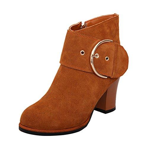 YE Damen Chunky Heels Ankle Boots Stiefeletten mit Reißverschluss und Schnalle 8cm Bequem Modern Schuhe Brown