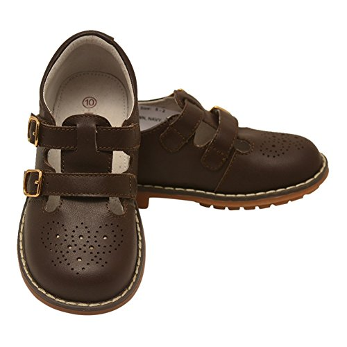 L'Amour Little Girls Brown Double T-Strap Buckled Leather Shoes 9 Toddler