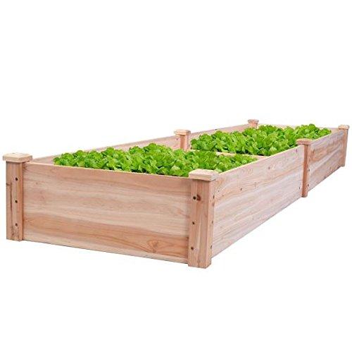 New 8' x 2' Wood Garden Raised Bed Vegetables Planter Kit Elevated Box Flower Gardening Grow Plant Herb Cedar Outdoor Patio Backyard Pots Wooden