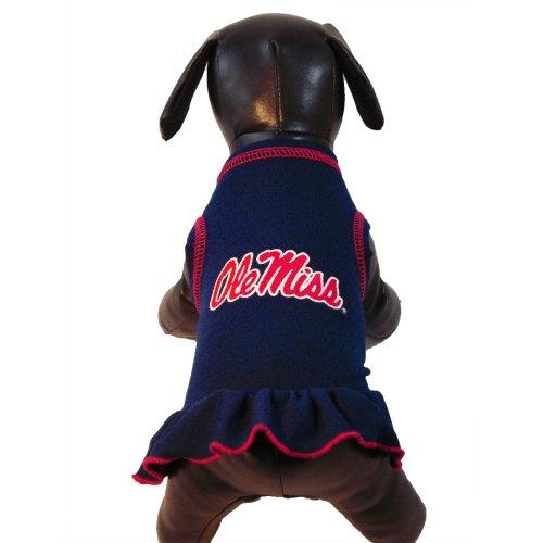 NCAA Ole Miss Rebels Cheerleader Dog Dress, Team Color, X-Small, My Pet Supplies