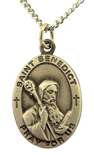 Pewter Catholic Patron Saint Benedict Pray for Us Medal, 1 (Pewter Patron Saint Medal)