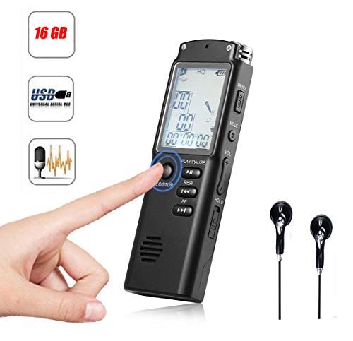 High Fidelity Digital Voice Audio Recorder, 16GB USB Charging Voice Recorder Dictaphone with A-B Repeat, MP3 Player, Time Display, HD Recording for Lecture Class Concert Meeting -