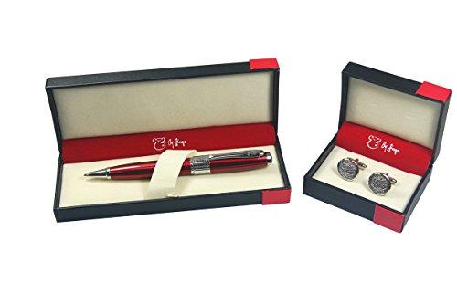 by-jingo-red-diamond-pen-white-bronze-cufflinks-ballpoint-pen-5500240214