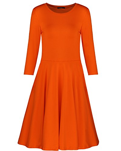 ouges-womens-3-4-sleeve-casual-flare-dressorangexl