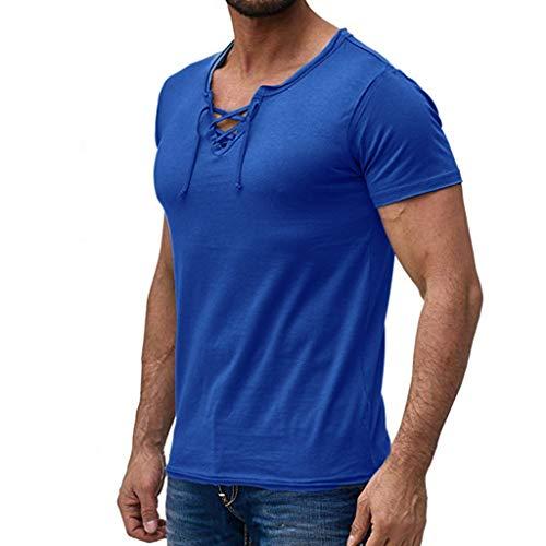 Short Plain Front Madras - Summer Mens Tee Tops, Fashion Casual Comfort Solid Drawstring Front Crisscross Short Sleeve T-Shirt Blouse Blue