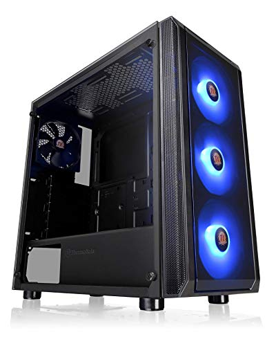 Thermaltake Versa J23 Tempered Glass RGB Edition 12V MB Sync Capable ATX Mid-Tower Chassis with 3 120mm 12V RGB Fan + 1 Black 120mm Rear Fan Pre-Installed CA-1L6-00M1WN-01 ()