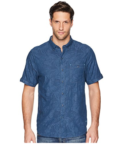 Tommy Bahama Men's Desert Fronds Short Sleeve Knit Camp Shirt (Ocean Deep, Small)