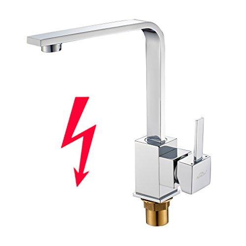 Auralum® Chrom Niederdruck Küche Armatur Küchenarmatur Kupfer Wasserhahn für Warm-Kaltwasser mit drei Anschluss-Schläuche