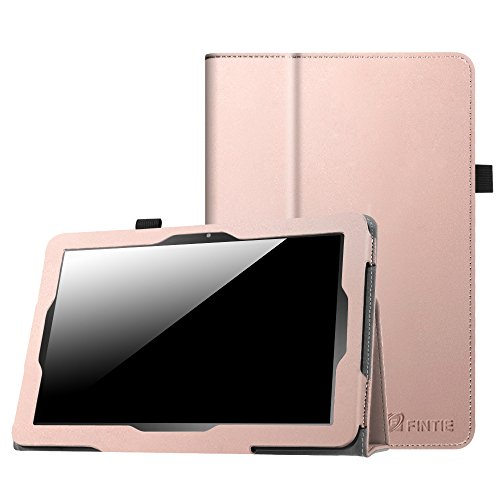 Fintie Case for Insignia Flex 10.1 Inch Tablet NS-P10A7100/NS-P10A8100, Slim Fit Premium Vegan Leather Folio Cover with Stylus Holder, Rose Gold