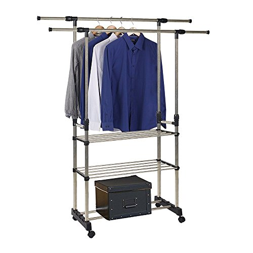 Dporticus Stainless Steel Clothing Racks Rolling Extendable