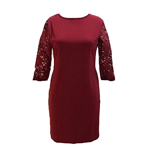 Abito Pizzo Medio Solido Rosa Elegante Assetto Cuciture Rossa Tasche Coolred Lungezza donne ISfYYA