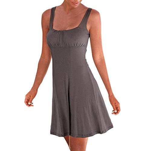 KESEELY Women Sleeveless Pleated Loose Swing Casual Knee Length Vest T Back Dress Brown