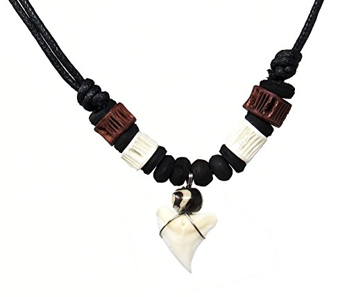 (Exotic & Trendy Jewelry, Books and More Real Shark Tooth Necklace-Shark Necklace -Handmade with Real Shark Tooth-Hawaiian Necklace-Shark Jewelry-Surfer Necklace (Brown & White))