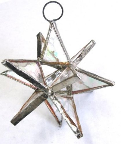 - Handmade Lot of 5 Moravian Stars Iridescent Stained Glass Christmas Ornament Sun Catcher Clear Color