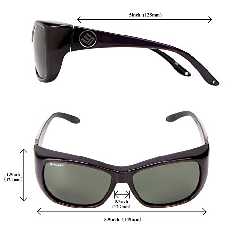 Freeprint Polarized Solar Shield Fit Over Glasses Driving Sunglasses for Men and Women,Purple by Freeprint (Image #3)
