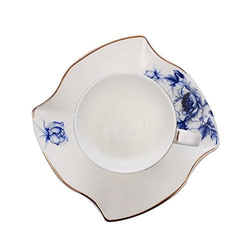 Porlien Porcelain 2.5-Ounce/80ml Small Espresso Cups Set of 4 with Saucers, Blue Floral Gold Trimmed by Porlien (Image #4)