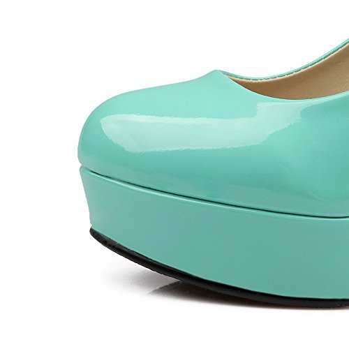 VogueZone009 Women's Pull On PU Round Closed Toe High Heels Solid Pumps-Shoes Green 5oveSLGe49