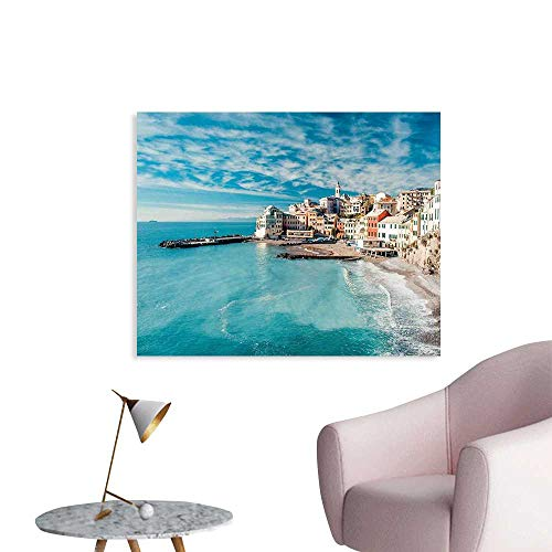 J Chief Sky Italy Wallpaper Sticker Panorama of Old Italian Fishing Village Beach in Old Province Coastal Charm Image Personalized Wall Decals W24 - Italian Basketball Charm