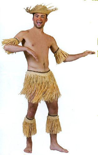 Tahitian Hula Costume (Boys 5-piece Tribal Dance Set / Skirt, Arm & Leg Bands)