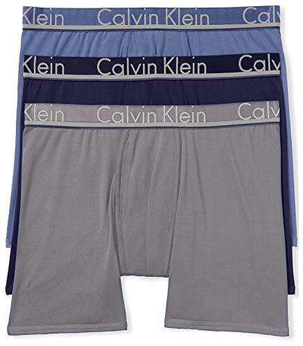 Calvin Klein Men's Underwear Comfort Microfiber Boxer Briefs, Commodore Blue/Dark Knight/Monument, XL
