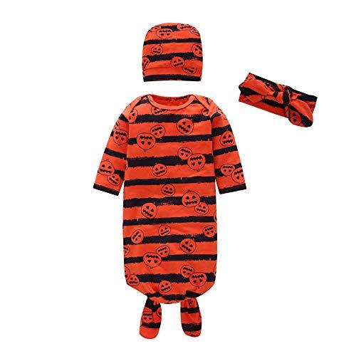 Fiaya Halloween Newborn Baby Girl Halloween Pumpkin Swaddle Sleeping Blanket Wrap Bath Towel for NB-9M (Orange, 0-3 Months) -