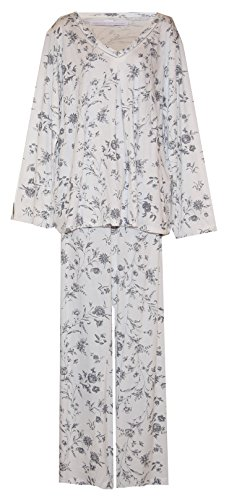 Wildflowers Plus Size Pajamas (Cream with Grey Wildflower Print, 1X) ()